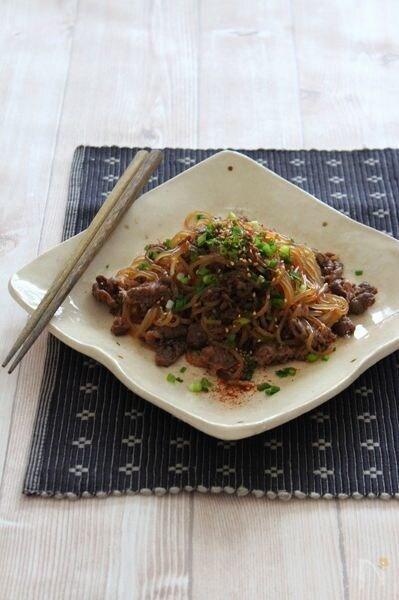しらたきと牛肉の炒り煮。