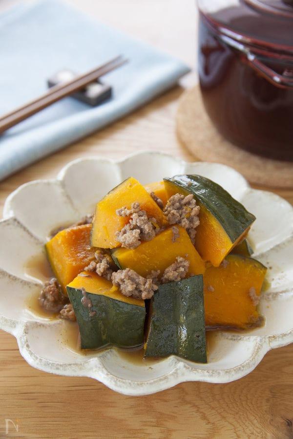 豚ひき肉とかぼちゃの煮物