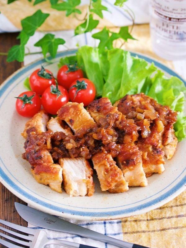 『むね肉 de 玉ねぎたっぷり♡ジンジャーチキンステーキ 』