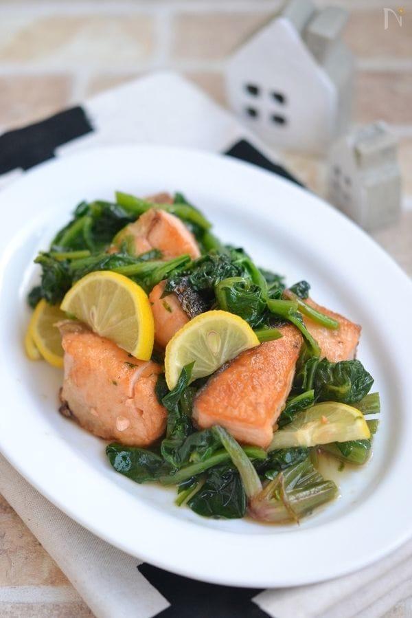 鮭とほうれん草のはちみつレモンソテー【作り置き】