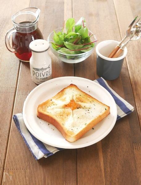 2. 卵をプラス!「エッグチーズフォンデュトースト」