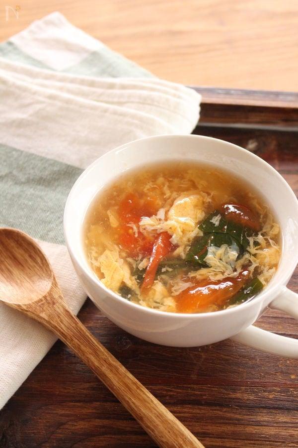 トマトとチンゲン菜の卵スープ