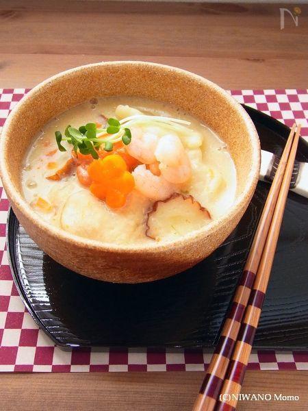 白味噌と豆乳のすいとん
