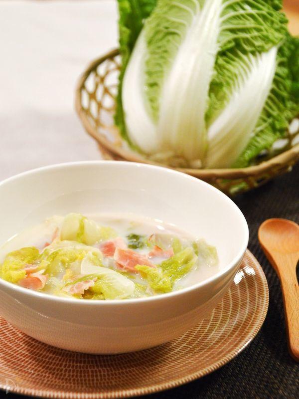白菜とベーコンの豆乳クリーム煮。白菜がとろける♪