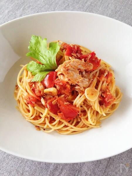 ヘルシー♪生トマトとツナのクリームパスタ