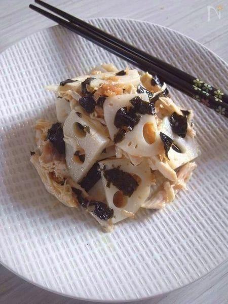 鶏肉とレンコンと海苔の梅オリーブオイル和え