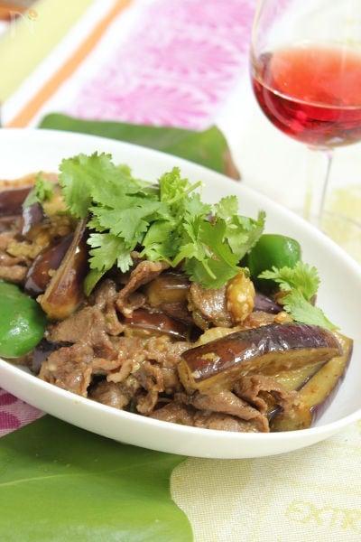 牛肉となすのエスニック炒め~ココナッツオイル風味
