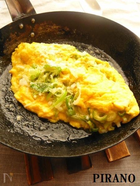 【184kcal】ねぎチーズオムレツ♪