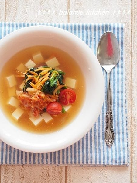 韓国冷麺風  お豆腐の冷製スープ