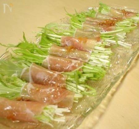 水菜と生ハムの巻き巻きサラダ