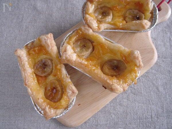 バナナのミニカスタードパイ。
