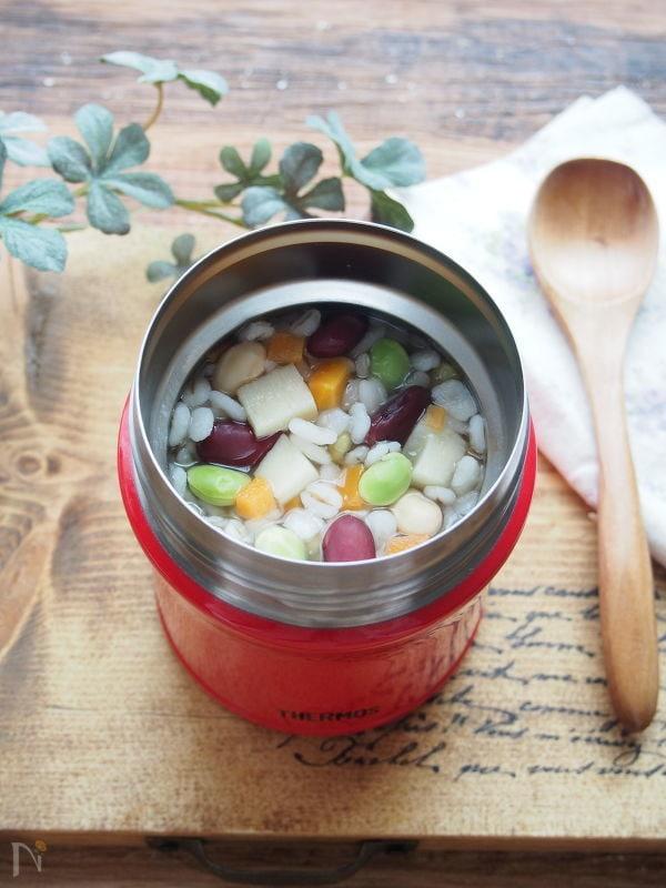 【スープジャー】たけのこと豆の中華風押し麦リゾット