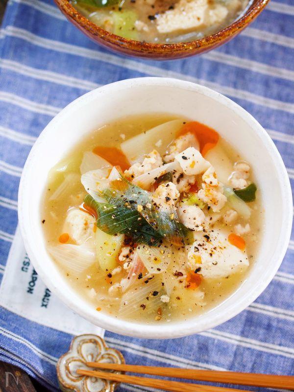 芯から温まる♪『崩し豆腐とトロトロ長ねぎのとろみ生姜スープ』