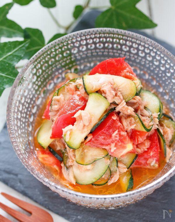 トマトとズッキーニのツナオイルしょうゆ【#簡単 #やみつき】