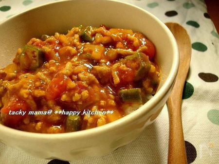 挽き肉とオクラのキーマカレー風トマト丼