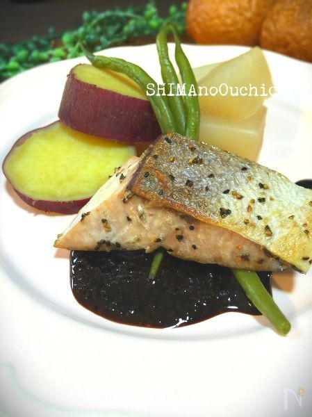季節の野菜のコンソメ煮とブリのソテー簡単バルサミコソース